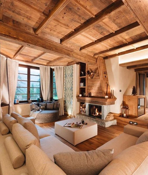Traditional fireplace in living room