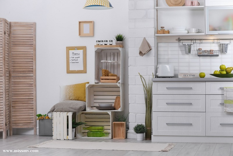 Upgrade the look of your kitchen with wooden crate storage space