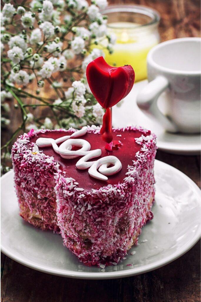 Valentines Day Heart shape fluffy cake