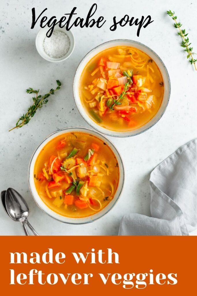 Vegetables soup made with leftover veggies
