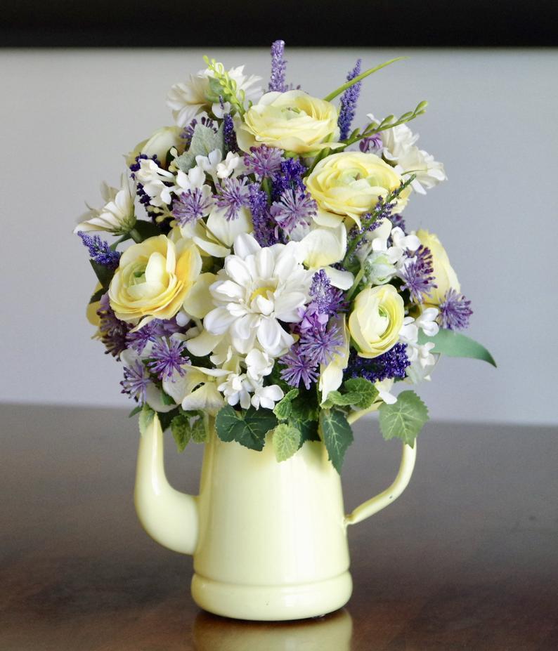 Vintage Yellow Enamel Coffee Pot With Silk Flower Arrangement