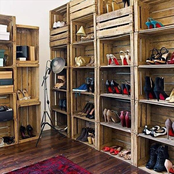 Vintage storage unit from recycled wood crates. Wooden crate home decor ideas to add personality to any room