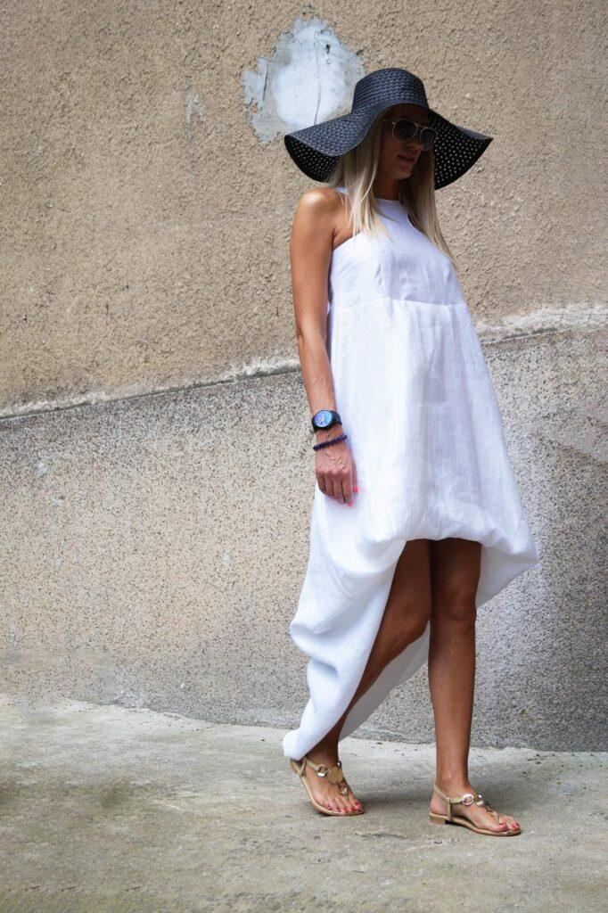 White Kaftan asymmetrical tunic maxi dress