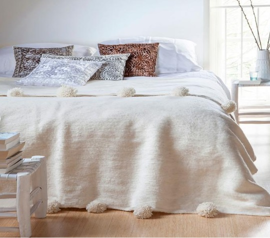 Wool Blanket Throw Pom Pom, Moroccan Pom Pom Bedspread Coverlet, Hand Loomed Bed Cover, Hand Woven by Berber Artisans on Wooden Looms.