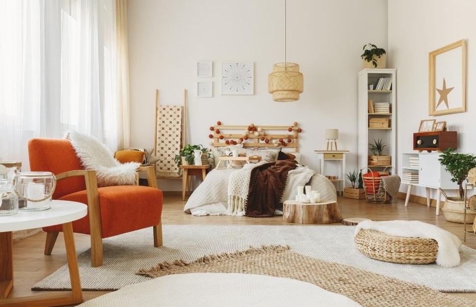 Spacious hygge bedroom interior decor