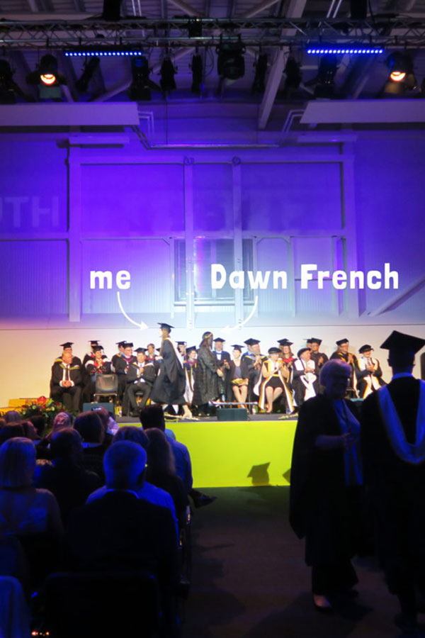 meeting dawn french at graduation from falmouth university