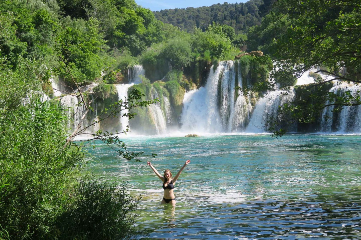 melissa carne in krka waterfall in Croatia