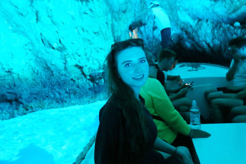 melissa carne in blue cave in Croatia
