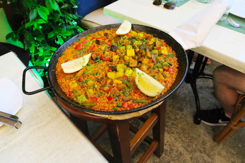 paella dish in restaurant in Alcudia, Mallorca