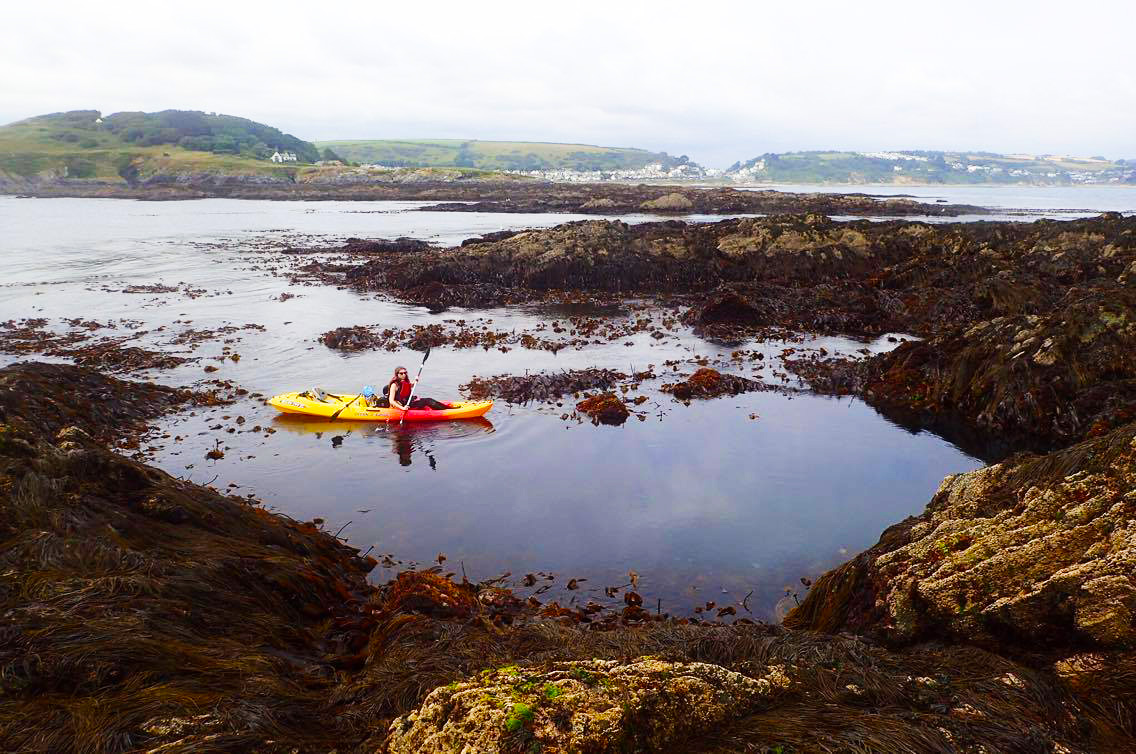 melissa carne in sea kayak off looe in cornwall