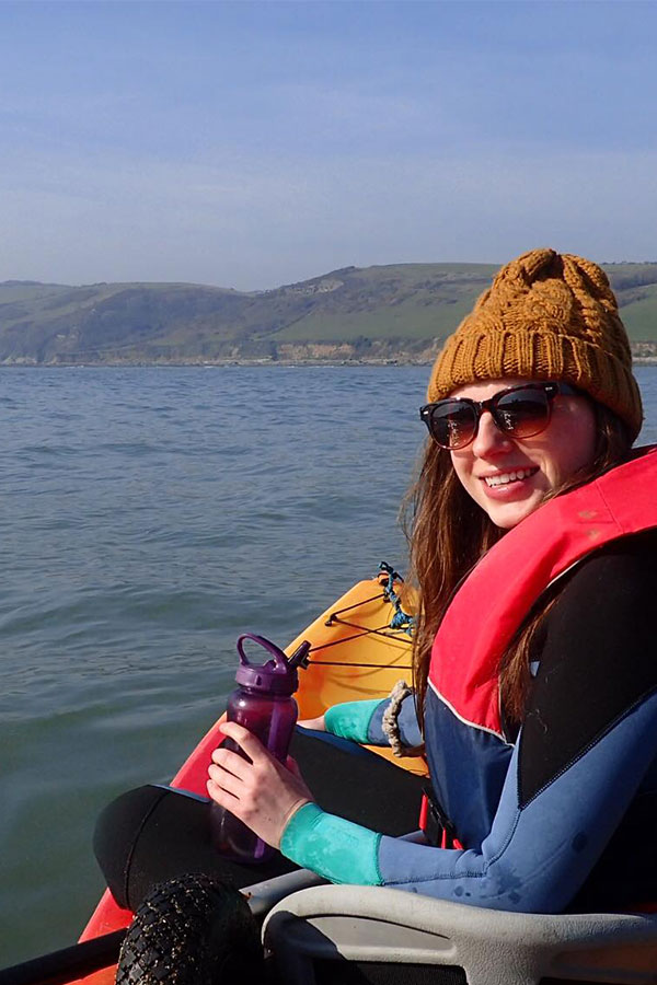 melissa carne in double sea kayak off looe island in cornwall