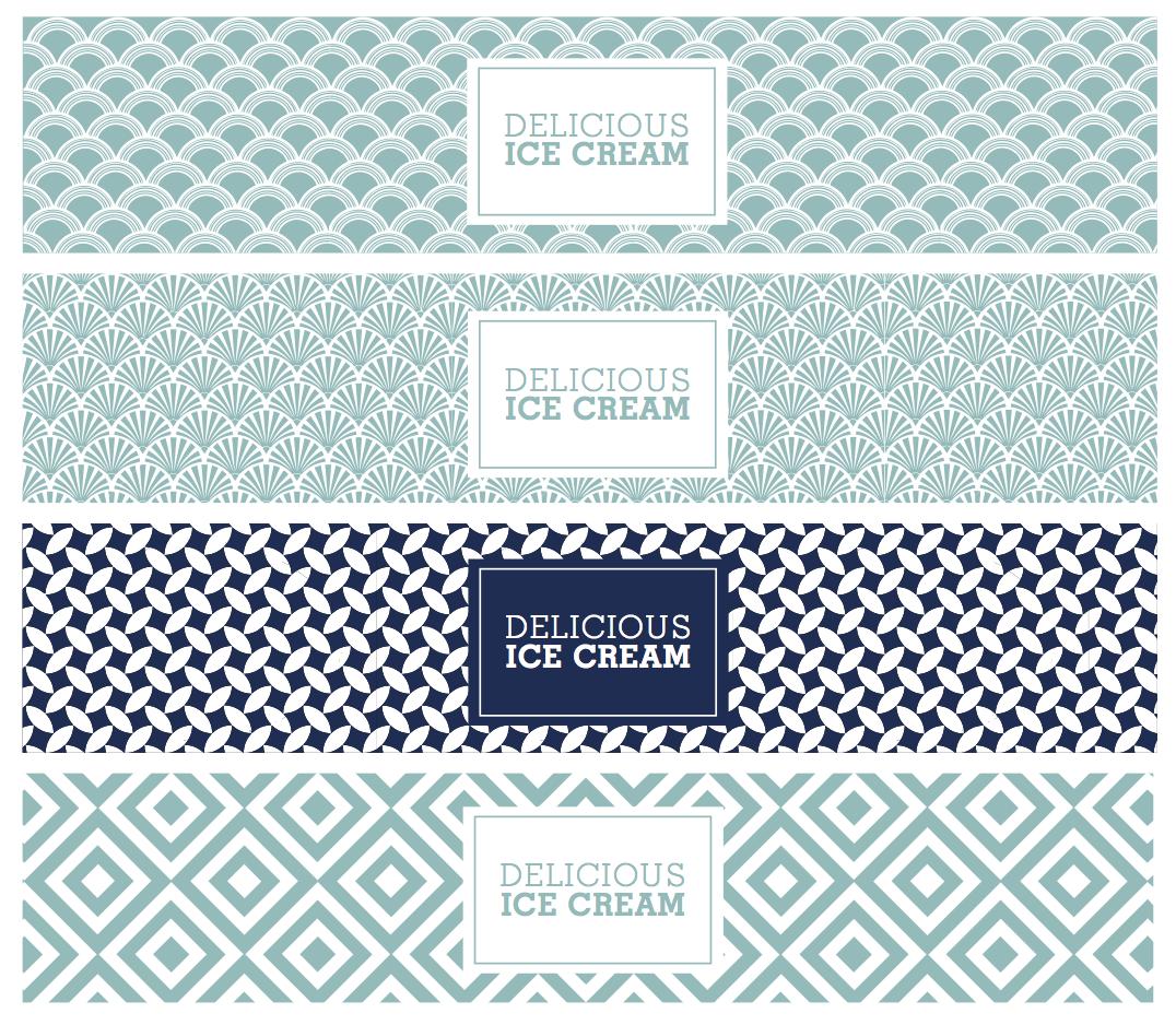 art deco ice cream tub design in blue by freelance graphic designer in cornwall