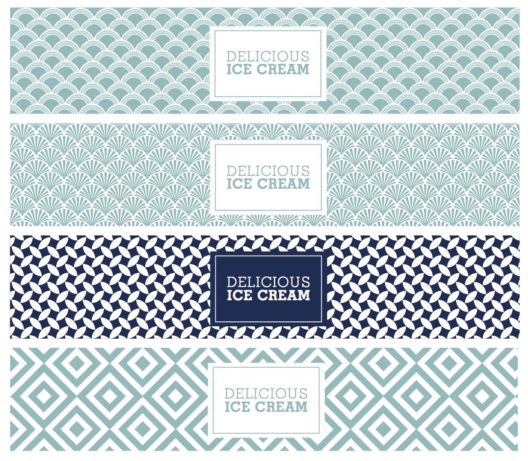 art deco ice cream tub design in blue by freelance graphic designer in cornwall