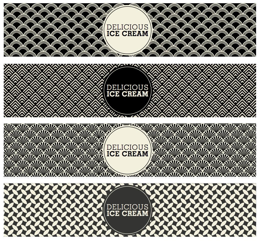 art deco ice cream tub design by freelance graphic designer melissa carne in cornwall