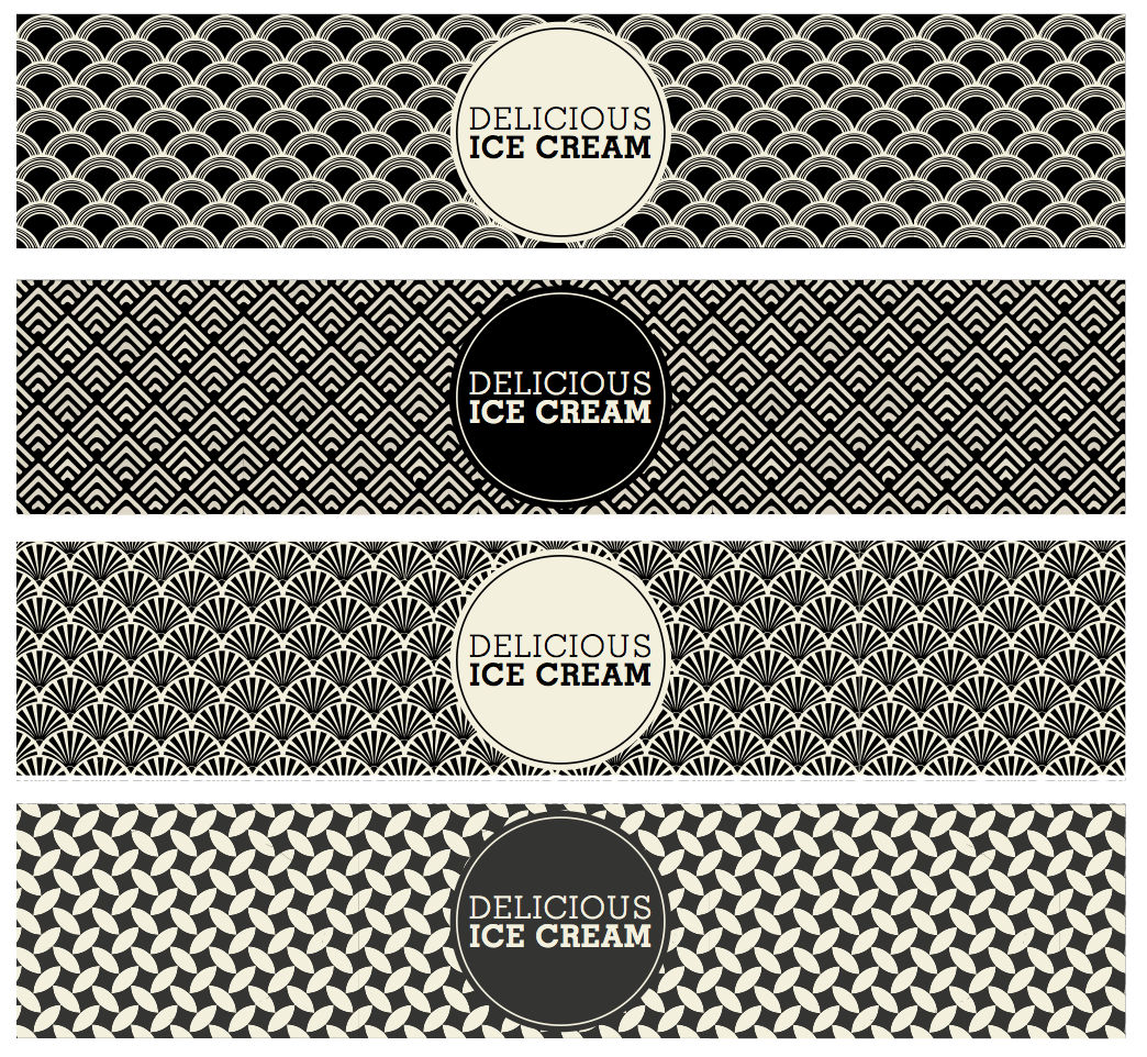 art deco ice cream tub design by freelance graphic designer melissa carne in cornwall