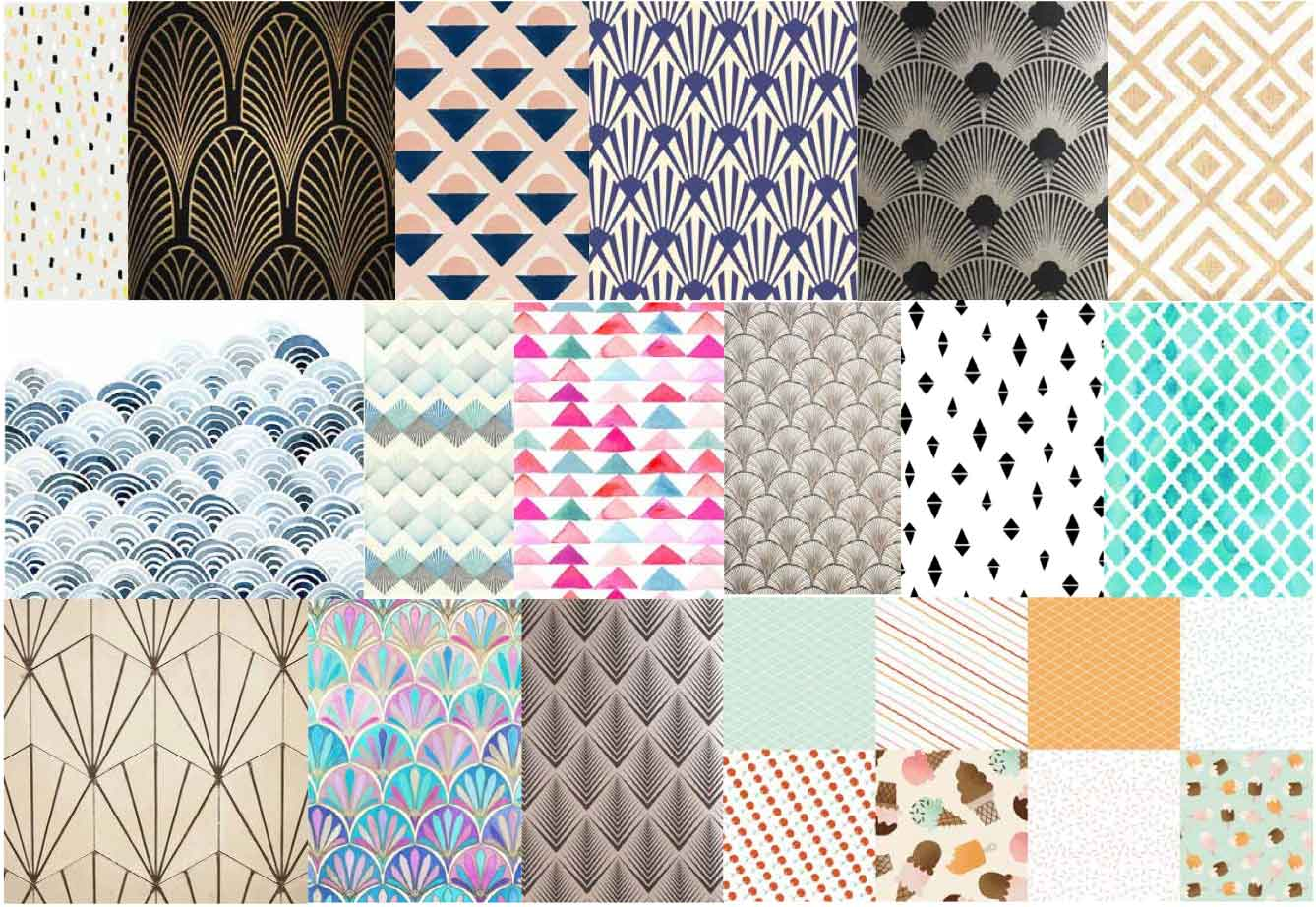 art deco pattern mood board by freelance graphic designer melissa carne