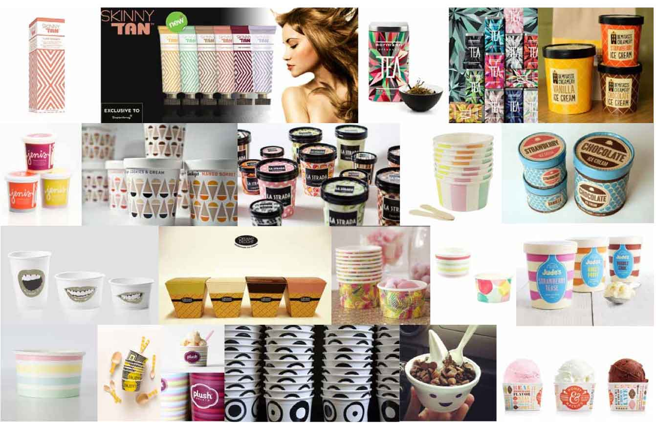 ice cream tub packaging pattern mood board by freelnace graphic designer melissa carne