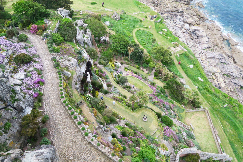 st michael's mount garden aerial view