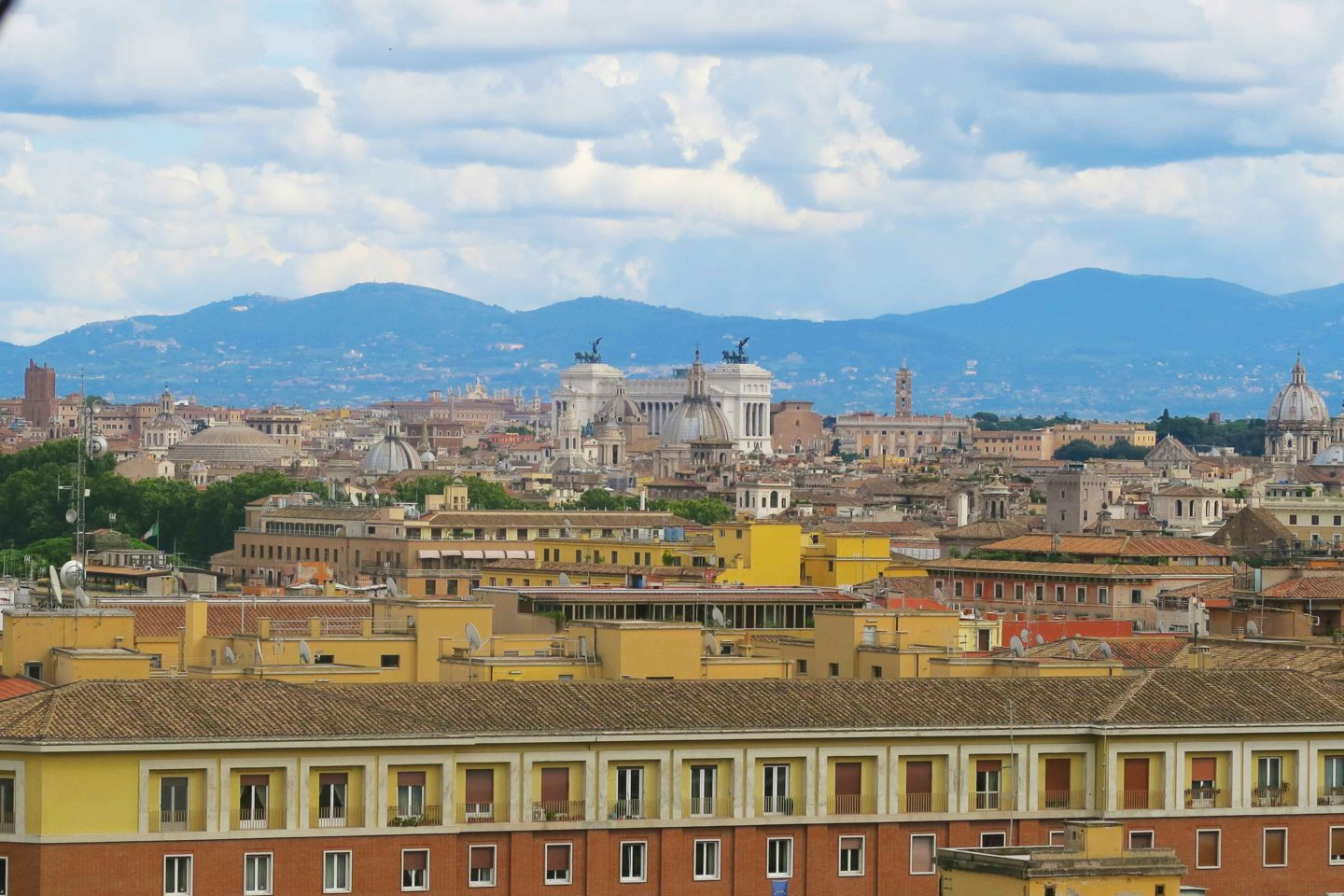 rome skyline with mountains in the backdrop