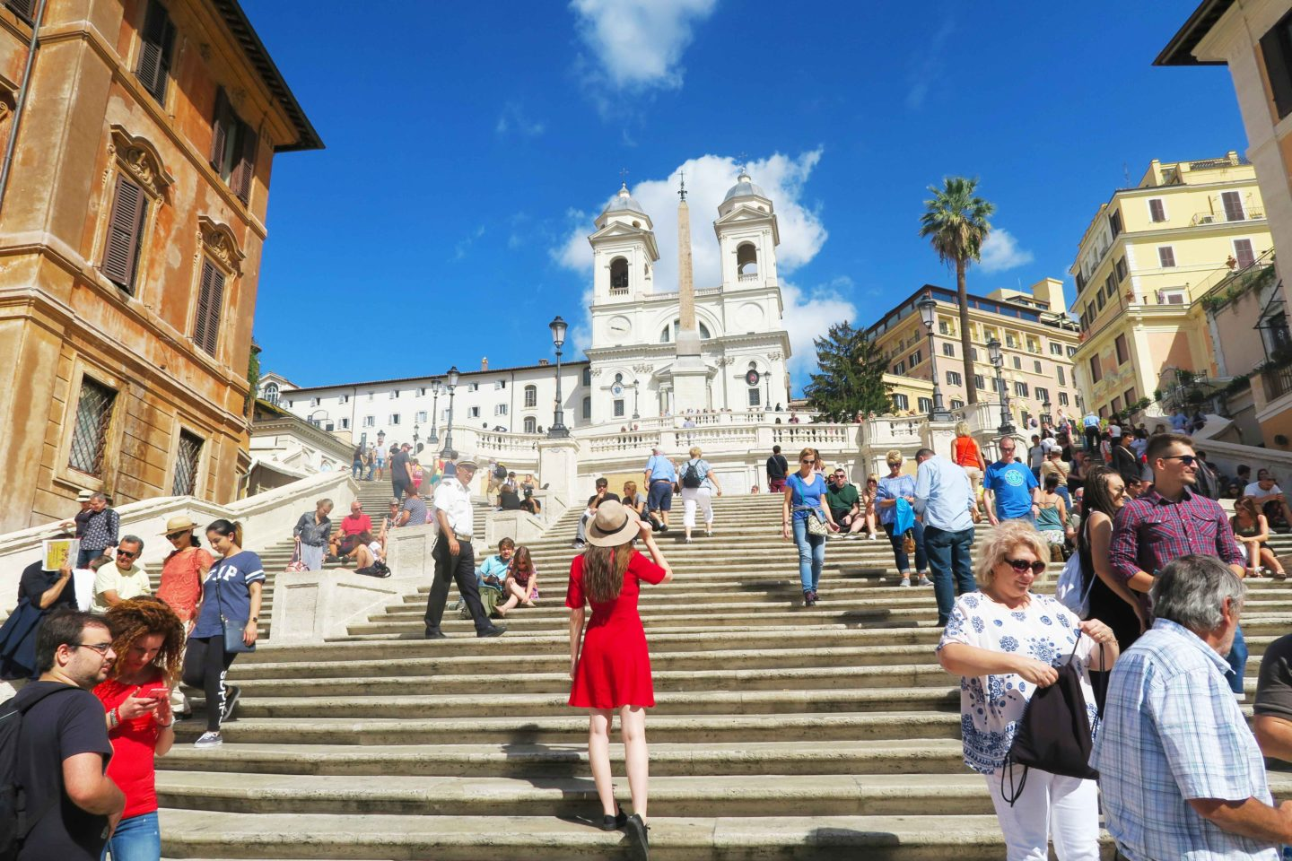 spanish steps melissa carne in a red dress