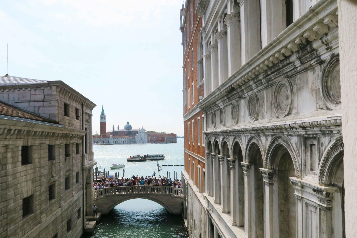 view from the bridge of sighs in venice in italy