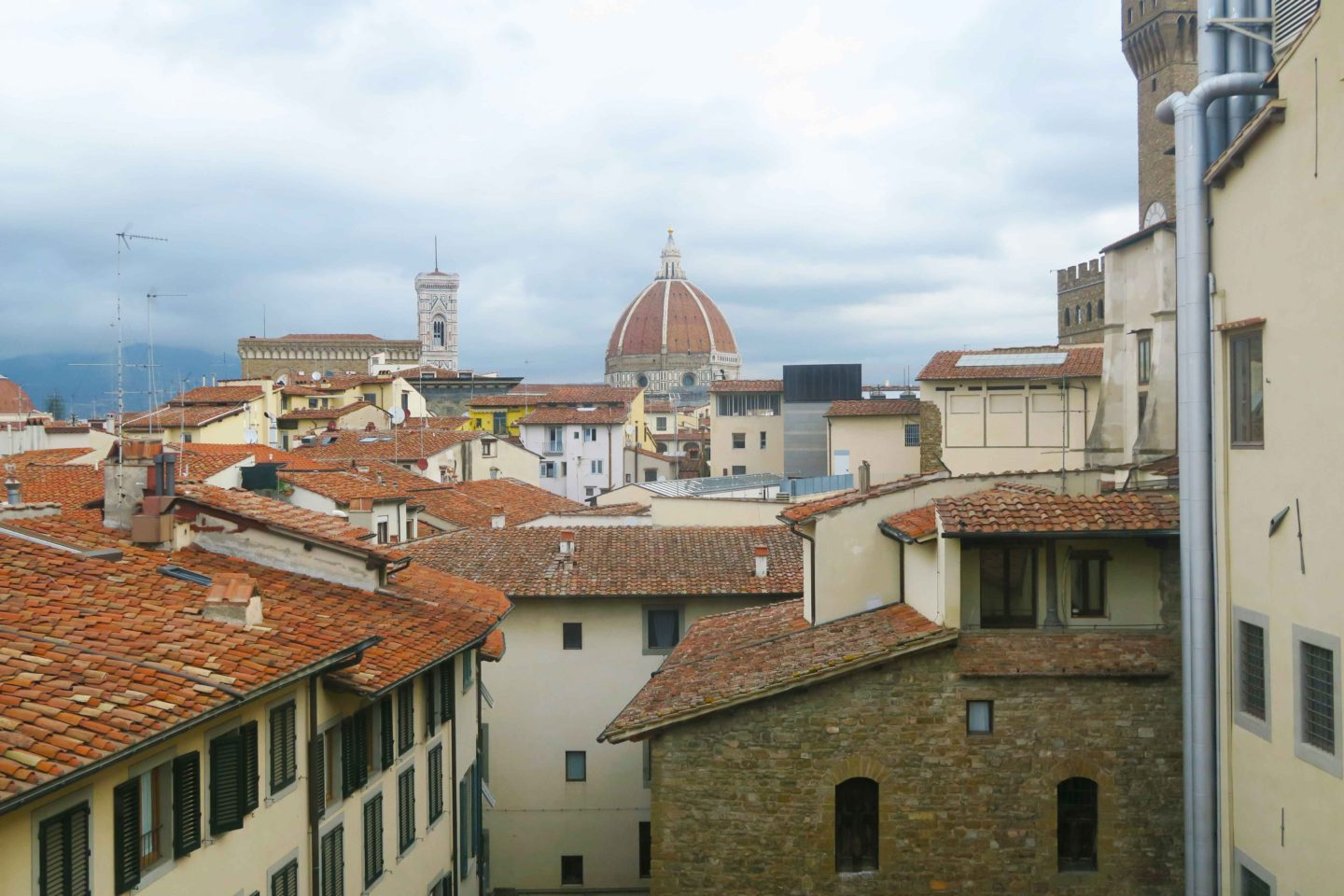 view from the uffizi gallery of the roof tops of florence