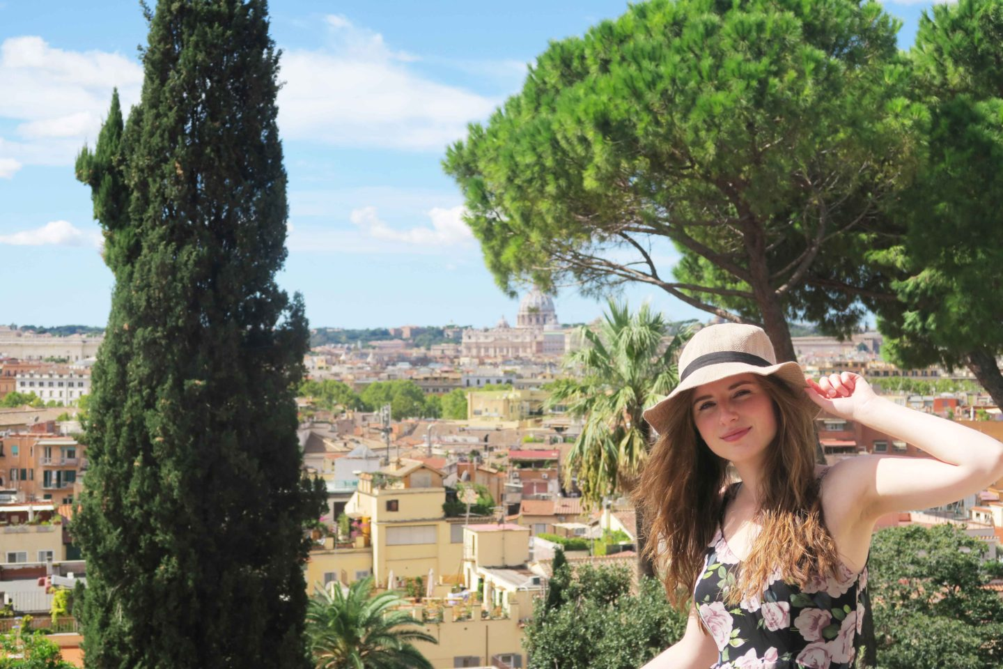 view of rome girl in sunhat
