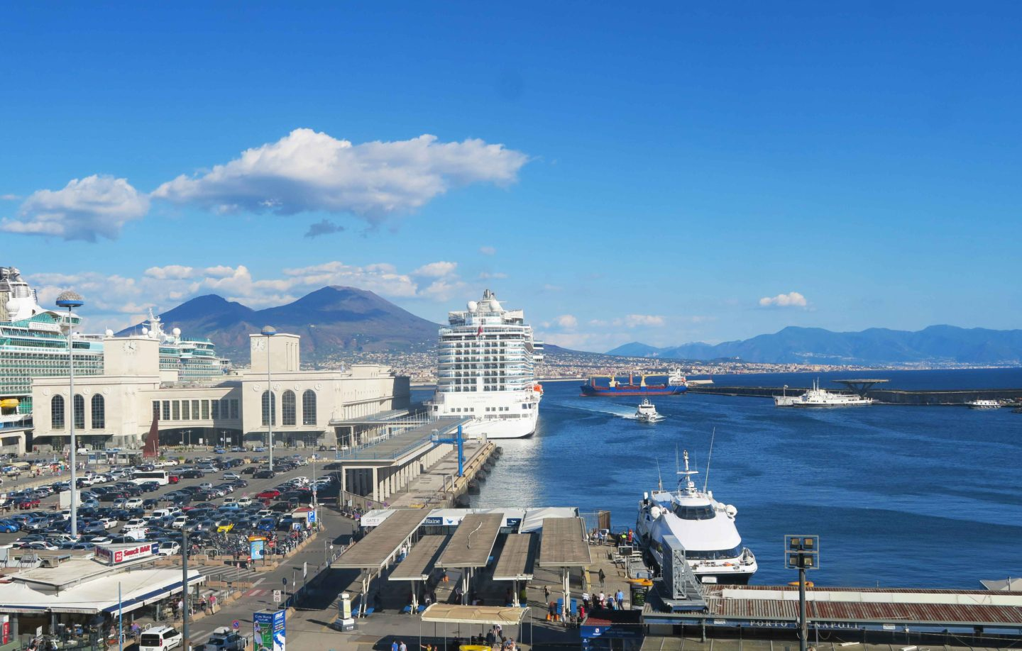 castel nuovo cruise ship in harbour at naples
