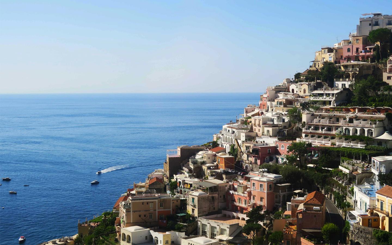 houses on positano headland on the almafi coast