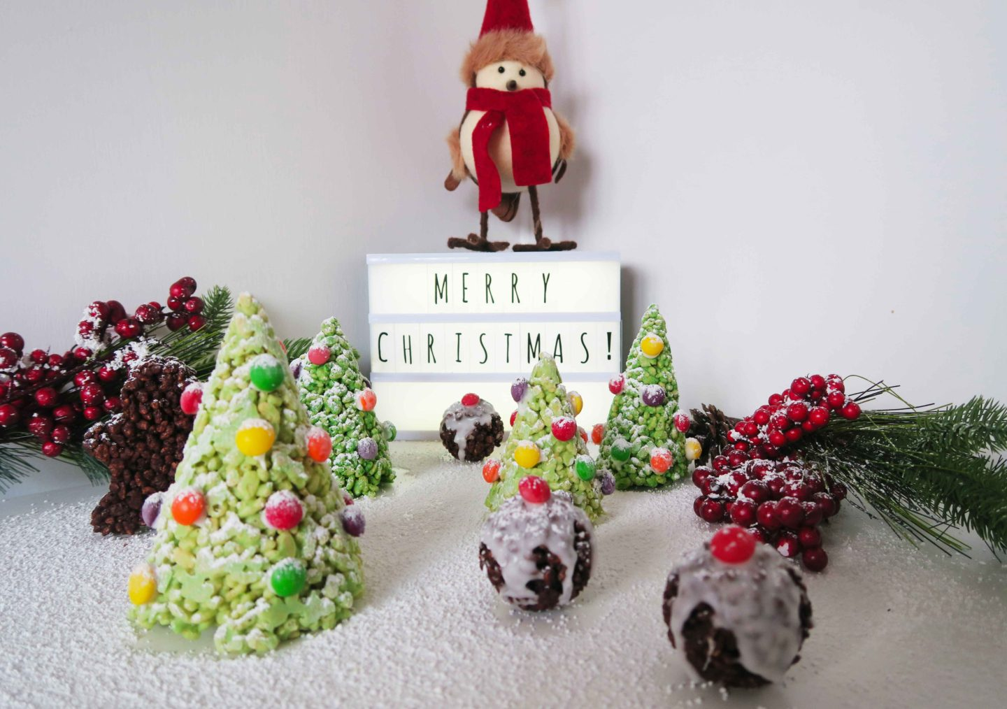 christmas rice krispie puddings and trees