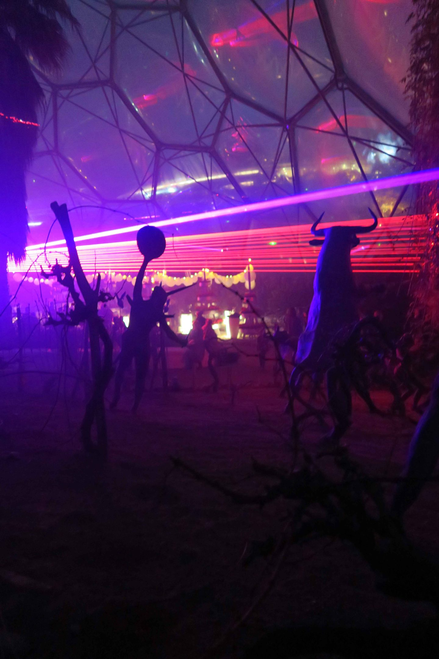 eden festival of light and sound lasers in biome statues