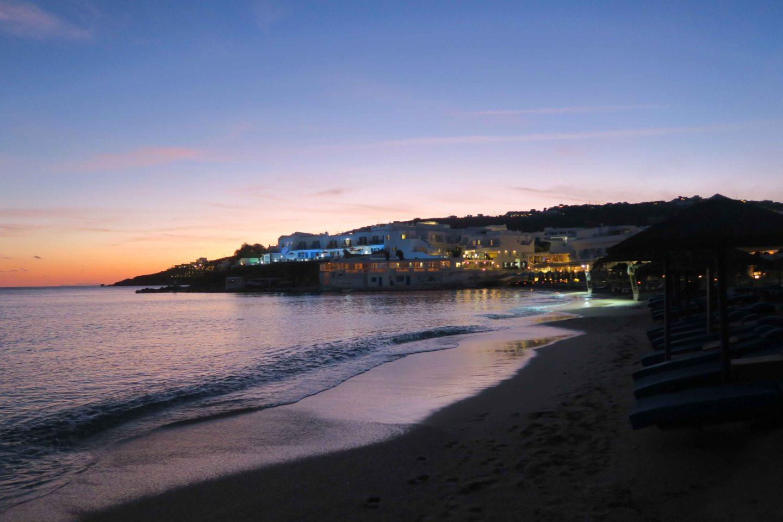 platis gialos beach at sunset in mykonos