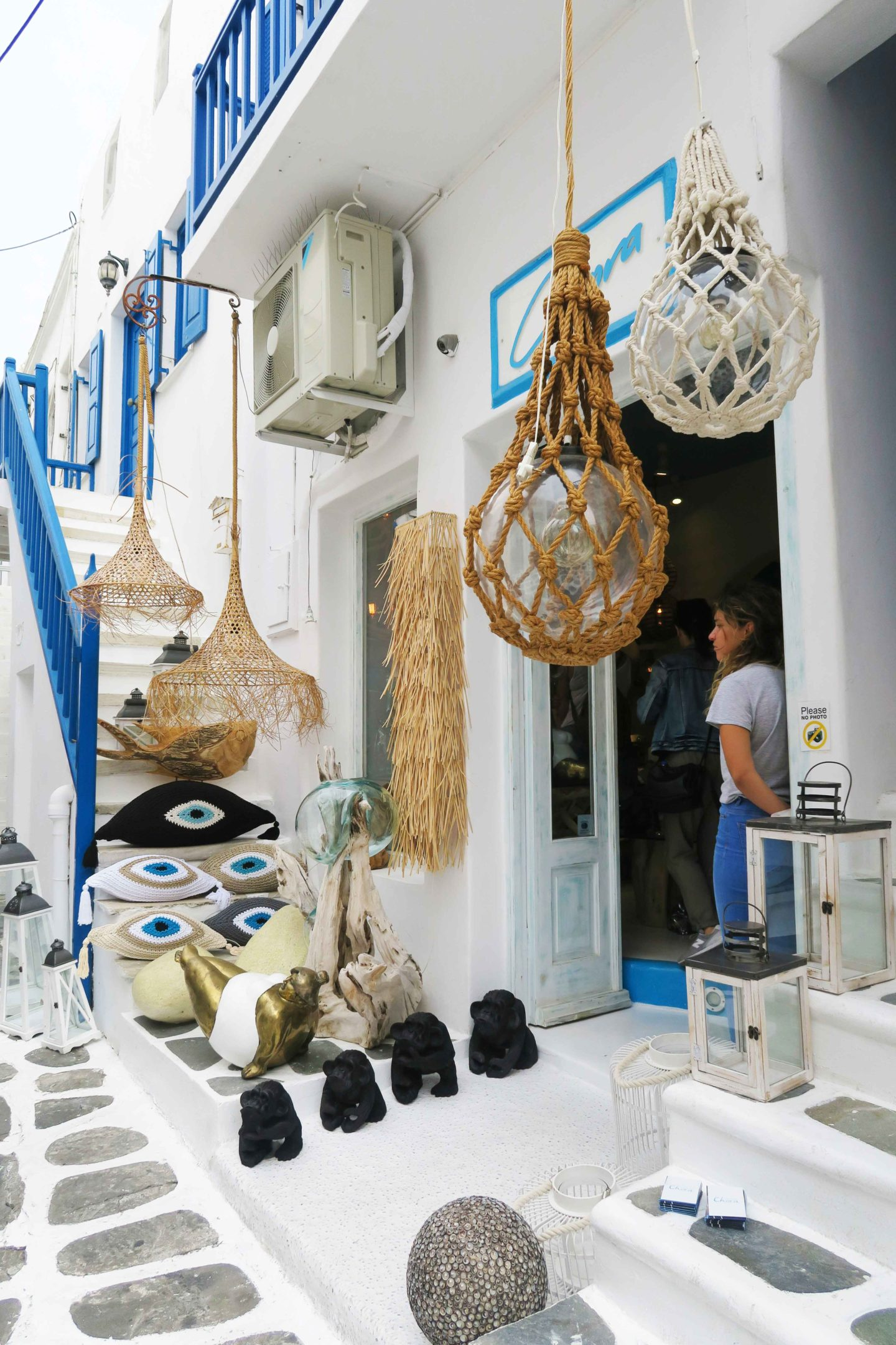 greek boho homeware shop in mykonos town