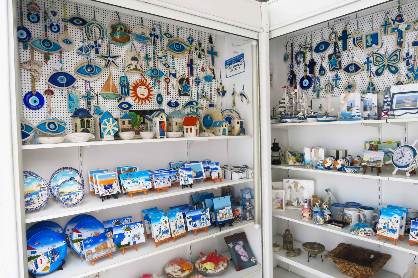 mykonos town gift shop with eye