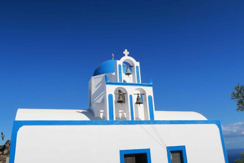 santorini church with bells