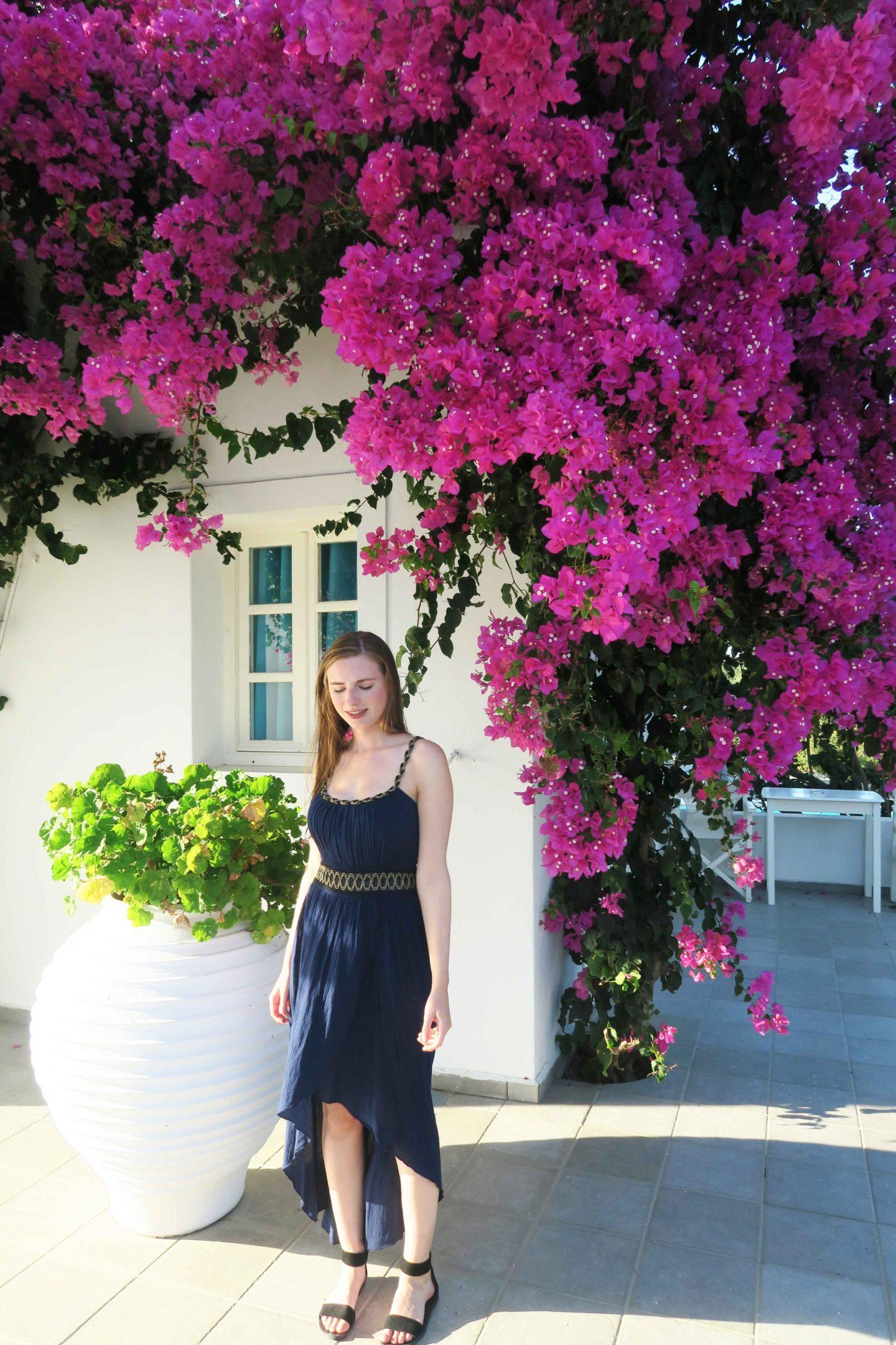 santorini greek dress pink flowers