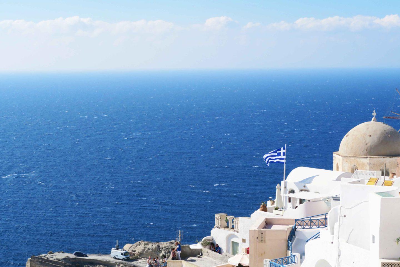 santorini oia greek flag