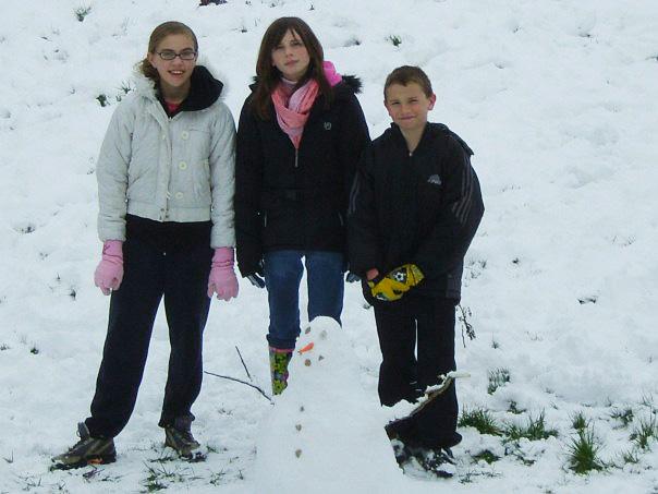 children building snowman