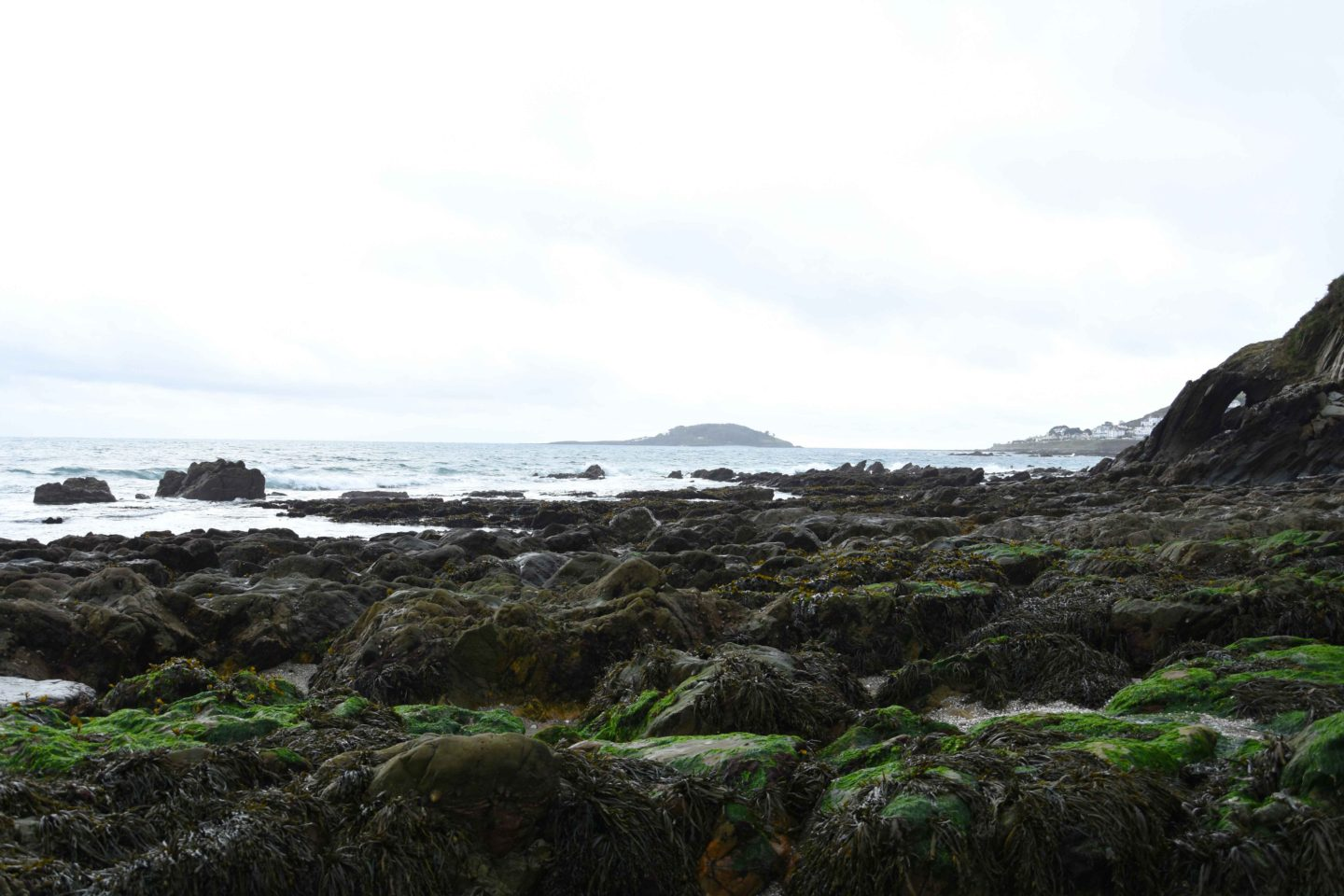 looe island from plaidy beach in cornwall