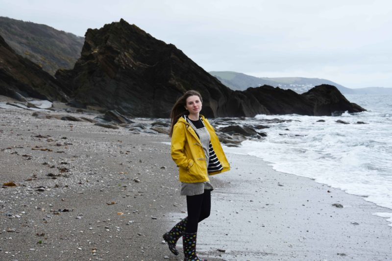 yellow seasalt sea folly jacket and wellies worn by melissa carne in cornwall