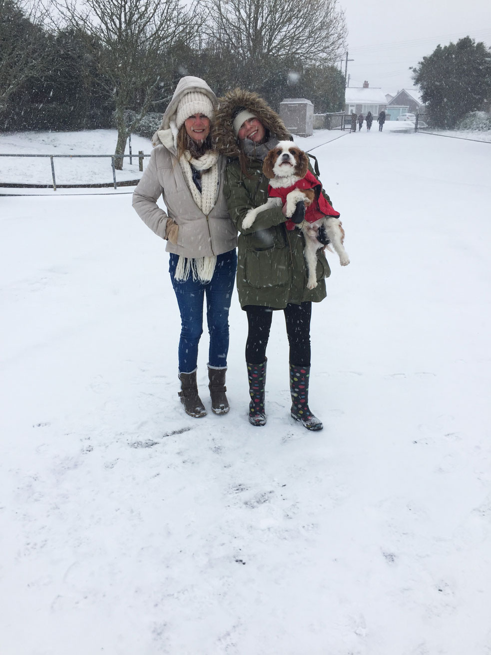 beast from the east mother and daughter and dog