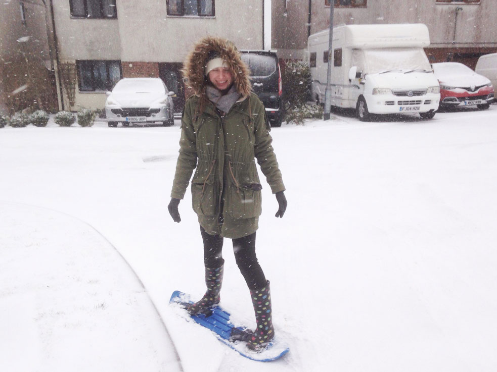 beast from the east snowboarding