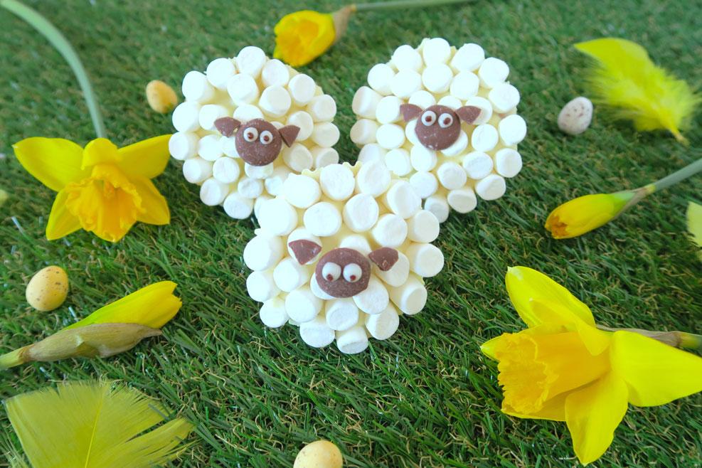 easter treats marshmallow sheep cupcakes daffodils