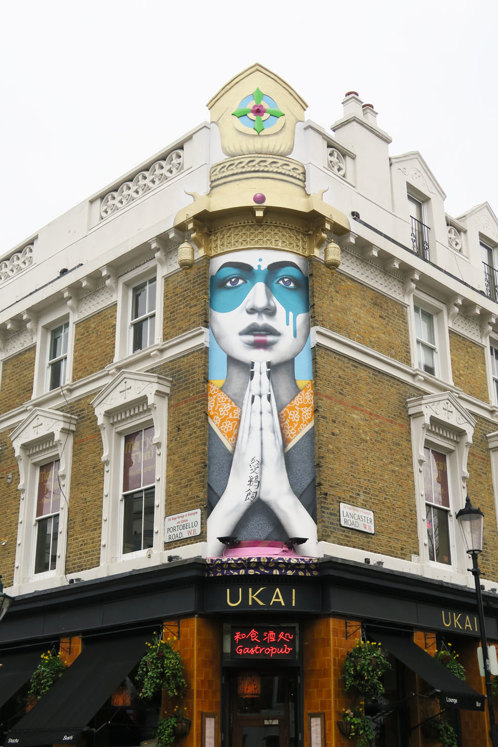 notting hill ukai shop with mural