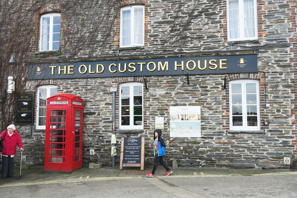 padstow the old custom house and red telephone box