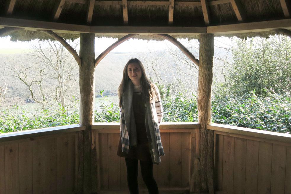 trelissick gardens girl in scarf