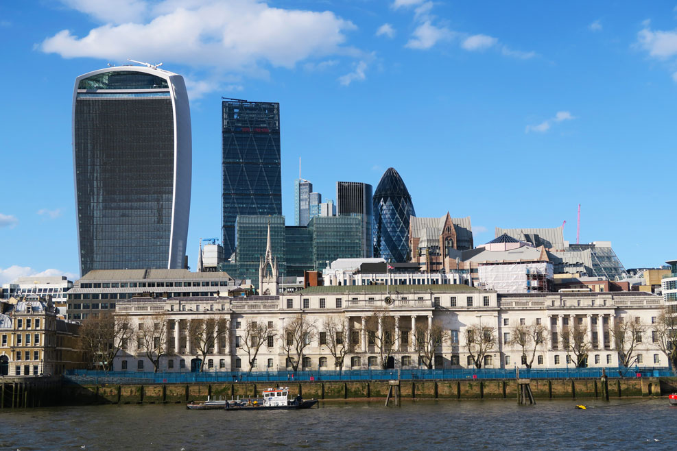 london city skyline with the gherkin building