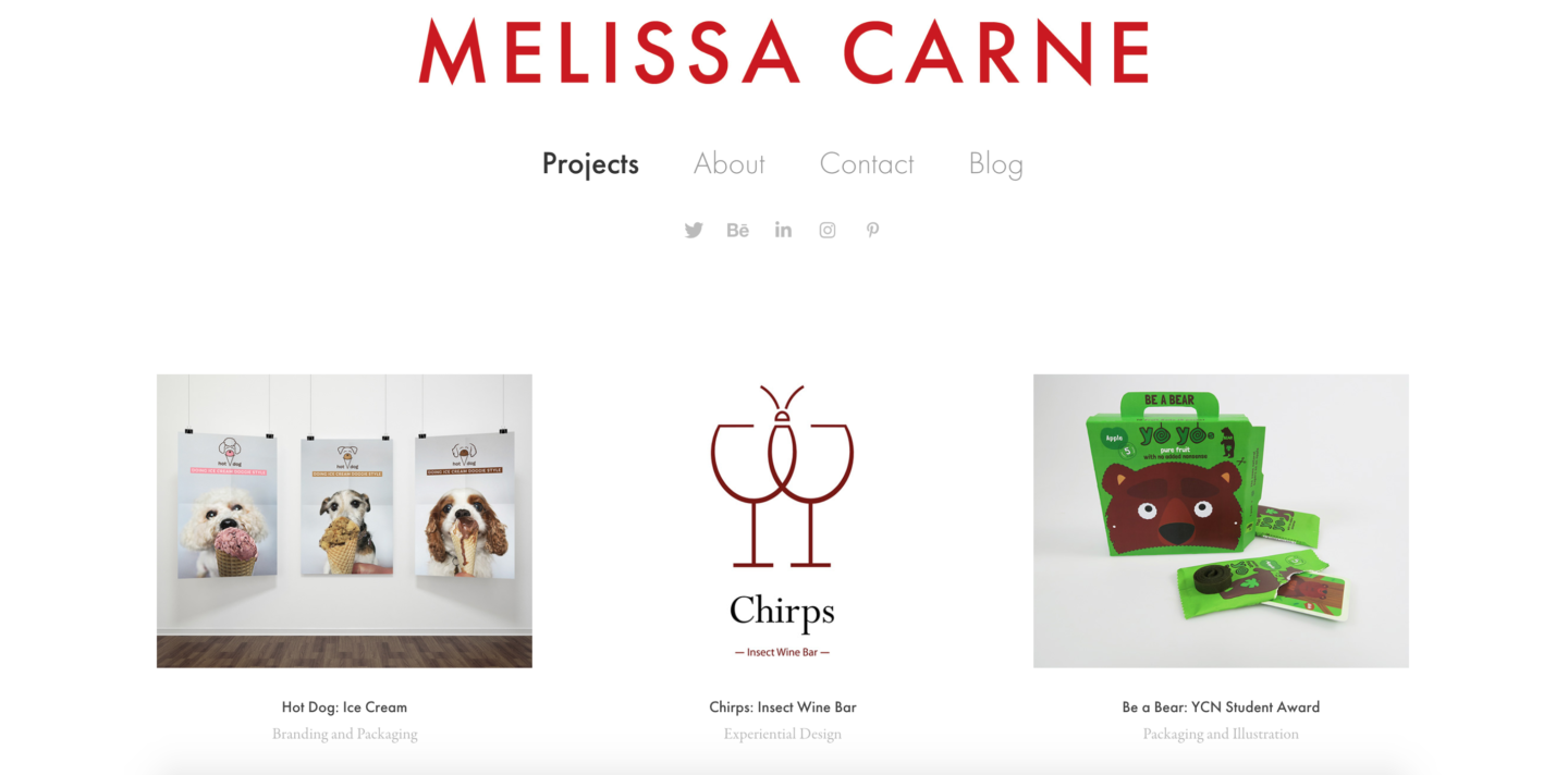 melissa carne freelance graphic design portfolio website