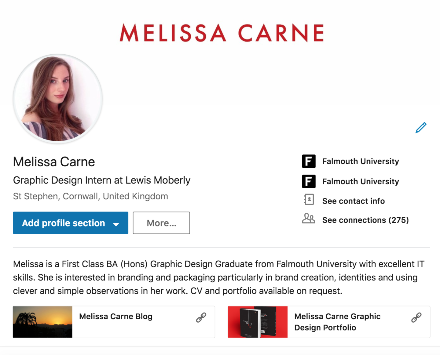 melissa carne freelance graphic designer linkedin profile