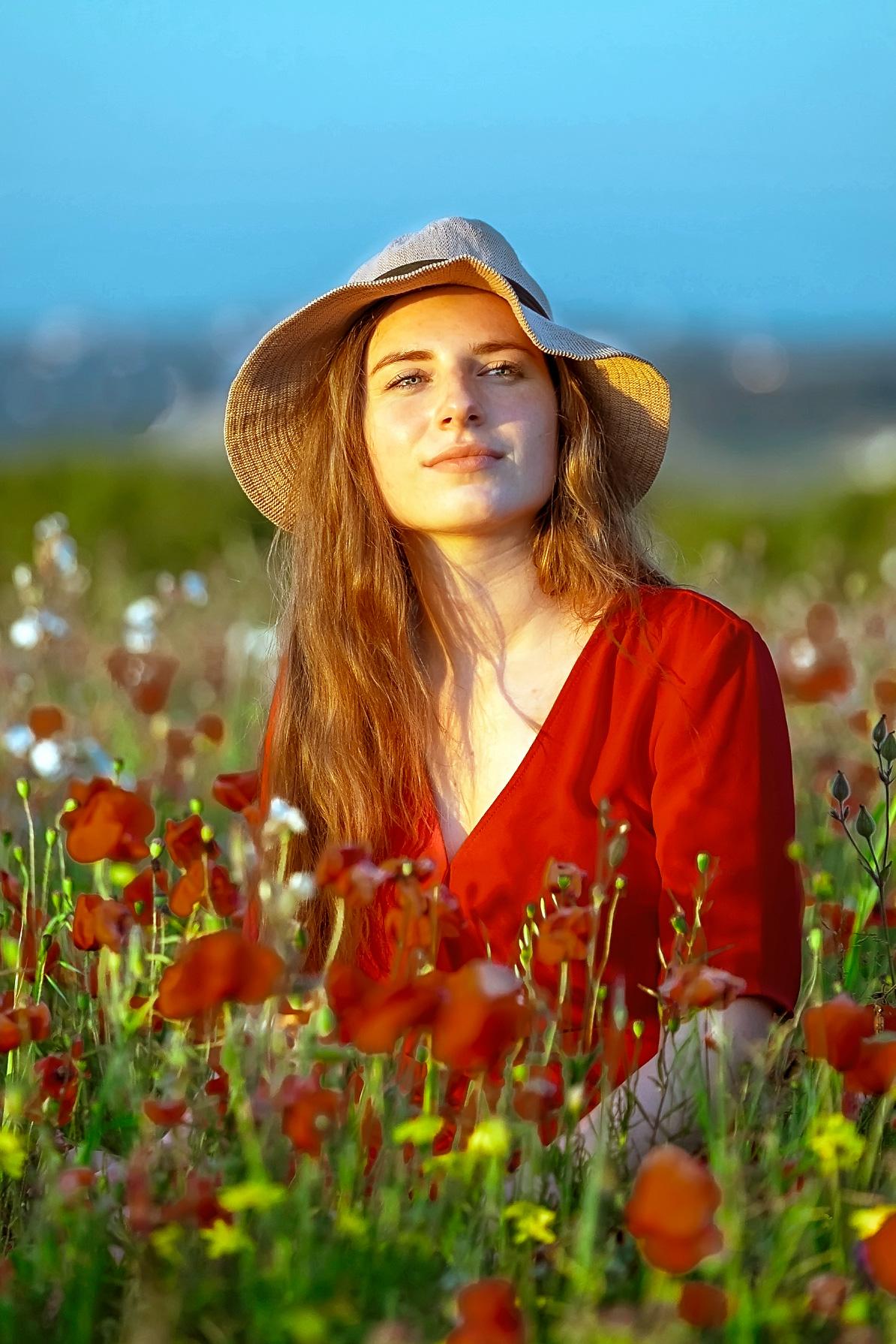 poppy field girl sun hat